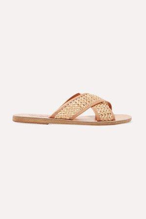 Thais Woven Raffia And Leather Slides - Neutral
