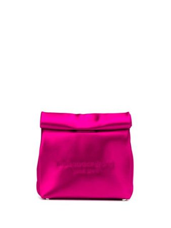 Pink Alexander Wang Satin Lunch Bag Clutch   Farfetch.com