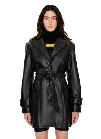 BELTED LEATHER TRENCH COAT — DANIELLE GUIZIO