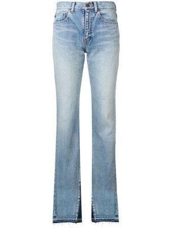 Saint Laurent Contrast Flared Jeans - Farfetch