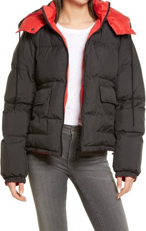 Reversible Water Resistant Hooded Puffer Coat