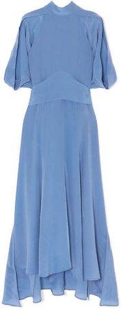 Belted Silk Midi Dress - Blue