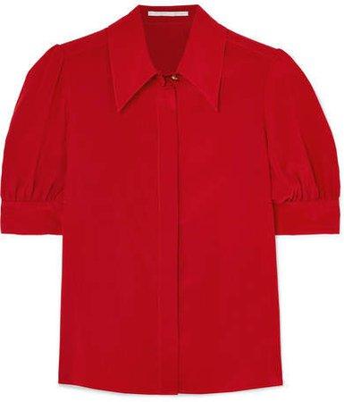 Silk-chiffon Blouse - Red
