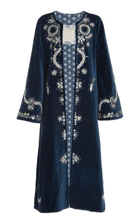 Alix Of Bohemia Alix of Bohemia One Talitha Hand-Embroidered Cotton Velvet C
