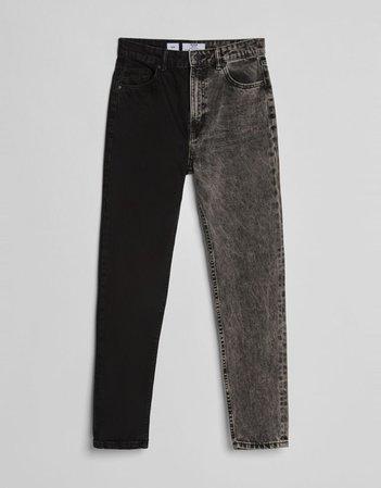Black Contrasting mom jeans - Denim - Woman   Bershka