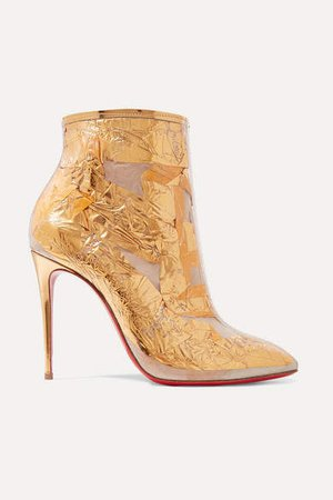 Booty Cap 100 Pvc And Metallic Crinkled-foil Ankle Boots - Gold
