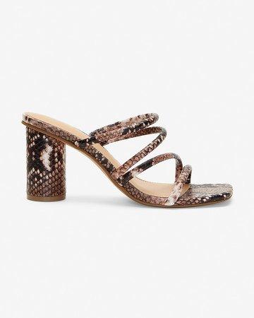 Snakeskin Textured Strappy Heeled Sandals