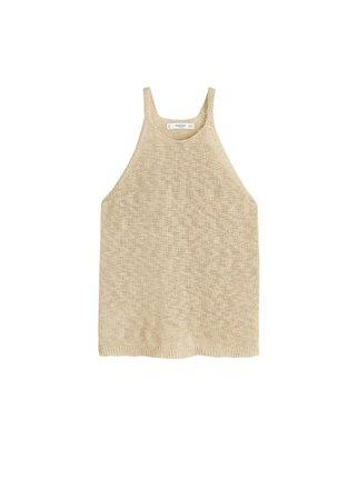 MANGO Cotton linen-blend top