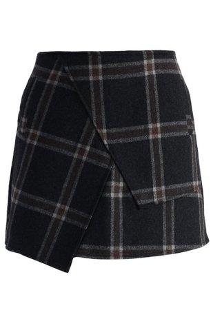 Chicwish Asymmetric Tartan Wool-blend Bud Skirt