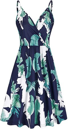 STYLEWORD Women's V Neck Floral Spaghetti Strap Summer Casual Swing Dress with Pocket at Amazon Women's Clothing store