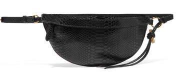 Python-effect Faux Leather Belt Bag - Black