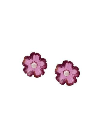 Irene Neuwirth 18kt Yellow Gold One-Of-A-Kind Pink Tourmaline And Pearl Flower Stud Earrings