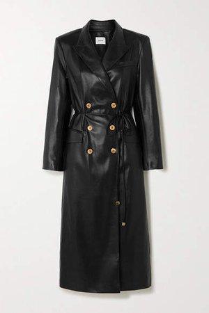 Malina Belted Vegan Leather Trench Coat - Black