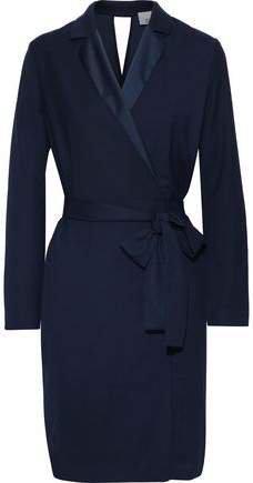 Salli Belted Satin-trimmed Crepe Dress