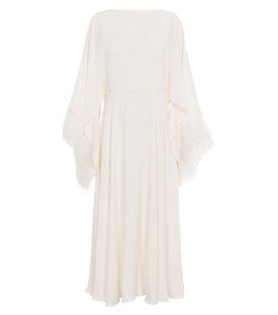 Valentino, feather-trimmed silk georgette dress