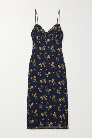 Fawn Floral-print Crepe Midi Dress - Navy