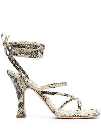 Shop Paris Texas snakeskin strappy sandals with Express Delivery - Farfetch