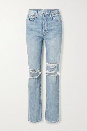 GRLFRND | Mica distressed high-rise straight-leg jeans | NET-A-PORTER.COM