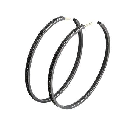 Medium hoop earrings - silver & black