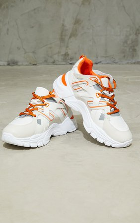 Orange Chunky Panelled Trainers | Shoes | PrettyLittleThing