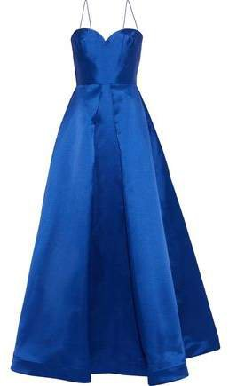 Pleated Duchesse-satin Gown