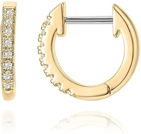 Amazon.com: PAVOI 14K Yellow Gold Plated Post Cubic Zirconia Cuff Earring Huggie Stud: Clothing