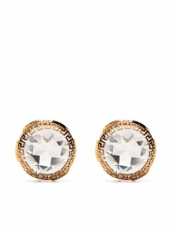 Shop Versace crystal stud Greca trim earrings with Express Delivery - FARFETCH