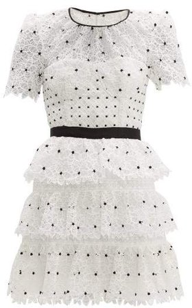 Self Portrait Hibiscus Tiered Guipure Lace Mini Dress - Womens - Black White