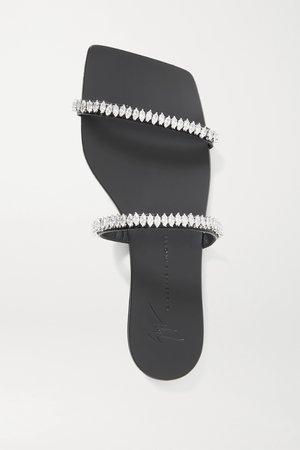 Black Crystal-embellished leather sandals | Giuseppe Zanotti | NET-A-PORTER