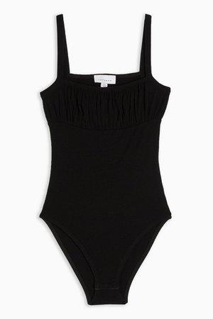 Black Ruched Square Neck Bodysuit | Topshop