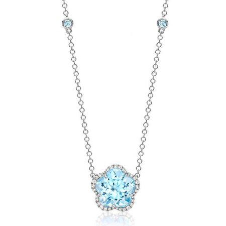 Eden Blue Topaz and Diamond Flower Necklace in White Gold - Kiki McDonough Jewellery - Sloane Square London | Kiki McDonough : Kiki McDonough Jewellery – Sloane Square London | Kiki McDonough