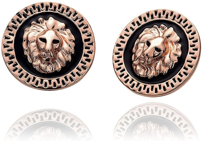 "Amazon.com: Rose Gold Plated Black Earrings Stud Push Back Lion 1"" L319 (18K Rose Gold Plated;): Jewelry"