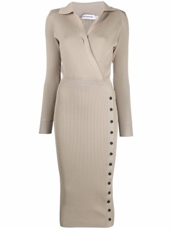 Shop Self-Portrait ribbed-knit buttoned dress with Express Delivery - FARFETCH