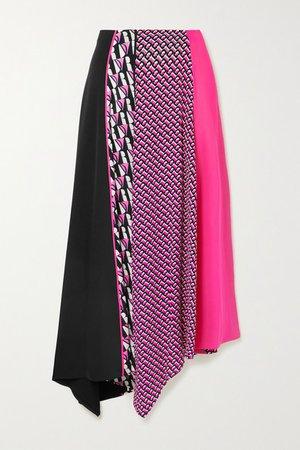 Jeffrey Asymmetric Printed Crepe Midi Skirt - Pink