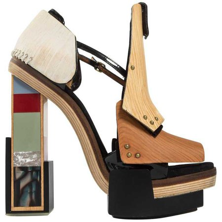 Balenciaga by Nicolas Ghesquière mixed media wooden block heels, A/W 2010 For Sale at 1stdibs