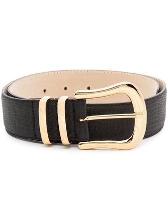 Black & Brown lizard-pattern Buckle Leather Belt - Farfetch