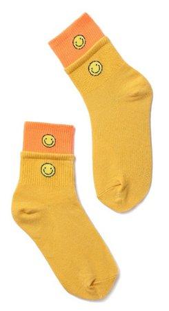 Cider Yellow Smiley Socks