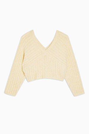 Buttermilk Knitted V Fluffy Crop Sweater   Topshop