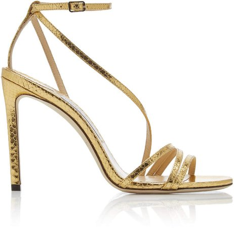 Tesca Snake-Effect Metallic Leather Sandals
