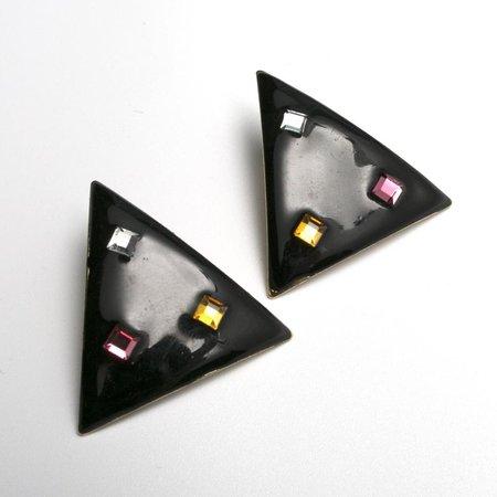 Vintage 50s or 80s Black Enamel Rhinestone Triangle Pierced | Etsy