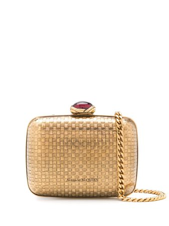 Shop gold Alexander McQueen mini woven metal clutch with Express Delivery - Farfetch