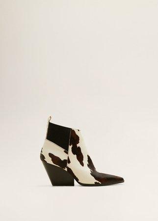 Leather cowboy ankle boots - Women | MANGO United Kingdom