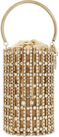 Artemide Crystal-embellished Gold-tone And Velvet Bucket Bag
