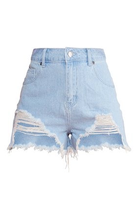 Mid Blue Wash Ripped Denim Shorts | Denim | PrettyLittleThing USA
