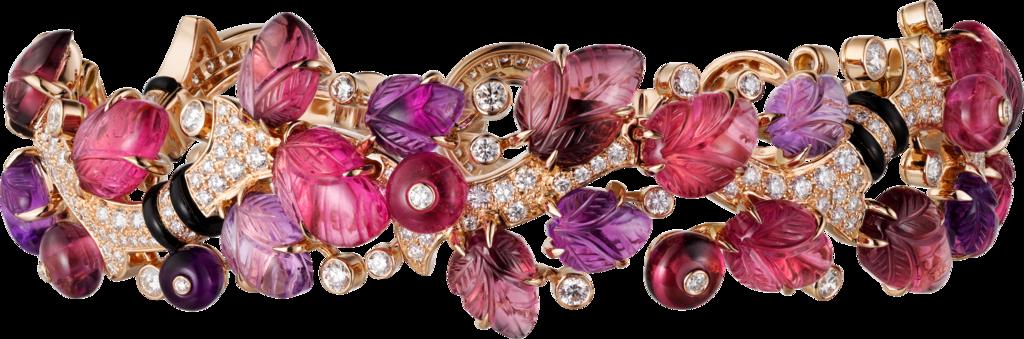 CRH6016317 - Bracelet with engraved stones - Pink gold, rubellites, amethysts, garnets, onyx, diamonds - Cartier
