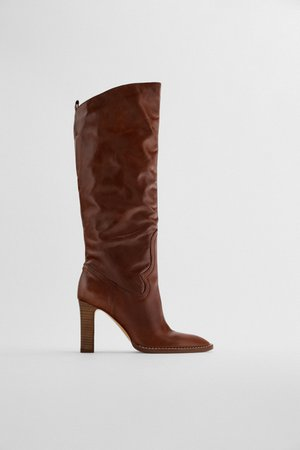 HIGH HEEL LEATHER BOOTS | ZARA United Kingdom