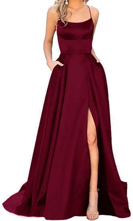 JASY Women's Spaghetti Satin Long Red Side Slit Prom Dresses with Pockets at Amazon Women's Clothing store