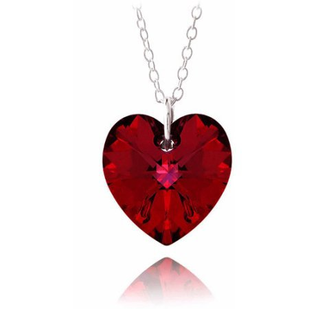 Ruby Red Swarovski Elements Sterling Silver Heart Necklace - Walmart.com