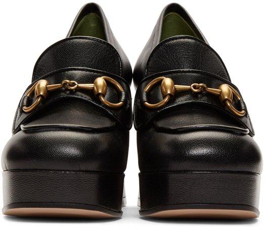 Gucci: Black Houdan Horsebit 85 Heels | SSENSE