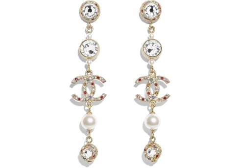 Earrings, metal, glass pearls & strass, gold, pearly white, multicolor & crystal - CHANEL